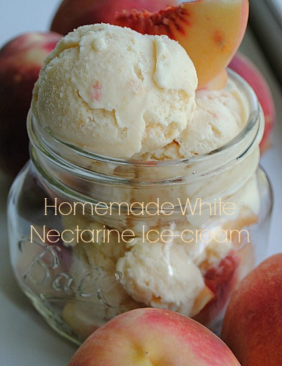 Homemade white nectarine ice-cream|www.you-made-that.com