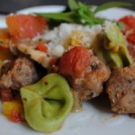 Thumbnail image for Spinach tortellini with Italian sausage & veggie sauce