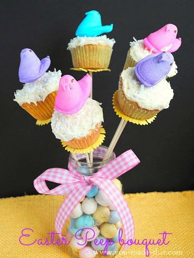 Easter Peep bouquet @www.you-made-that.com