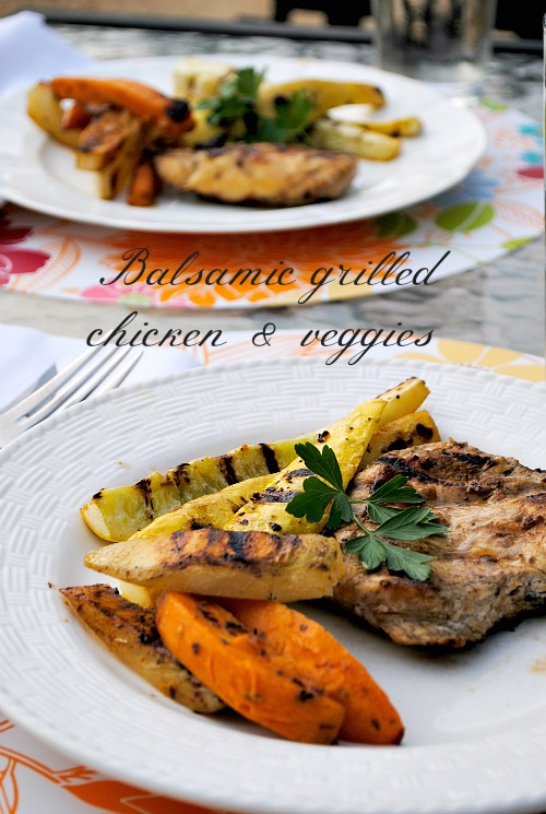 Balsamic grilled chicken & veggies | you-made-that.com