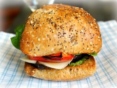 Thumbnail image for Roasted Portobello & Red Pepper Sandwich on Whole Grain Ciabatta Bread
