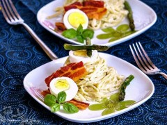 Thumbnail image for Warm Fettuccine Salad with Asparagus and Potato Dressing