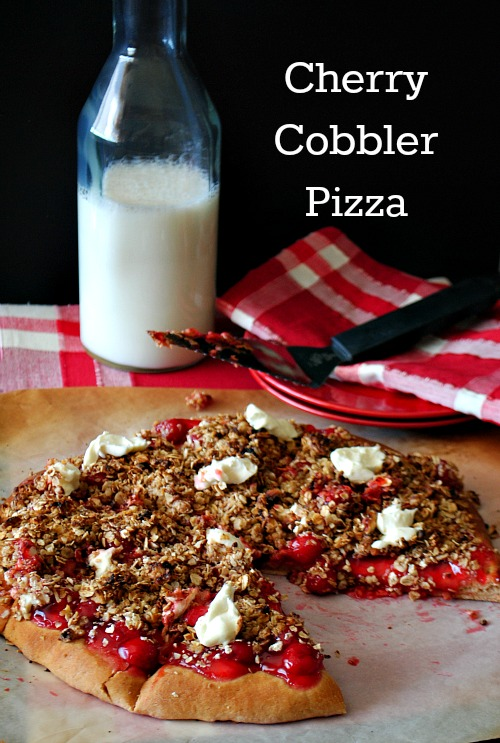 Cherry cobbler pizza @www.you-made-that.com