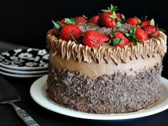 Thumbnail image for Chocolate Cake with Chocolate Swiss Meringue Buttercream and Strawberries