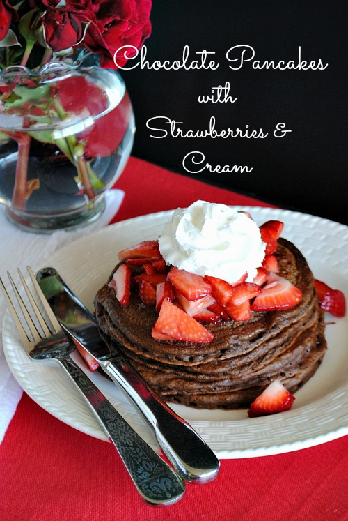 chocolate pancakes w/strawberries and cream |Suzanne www.you-made-that.com