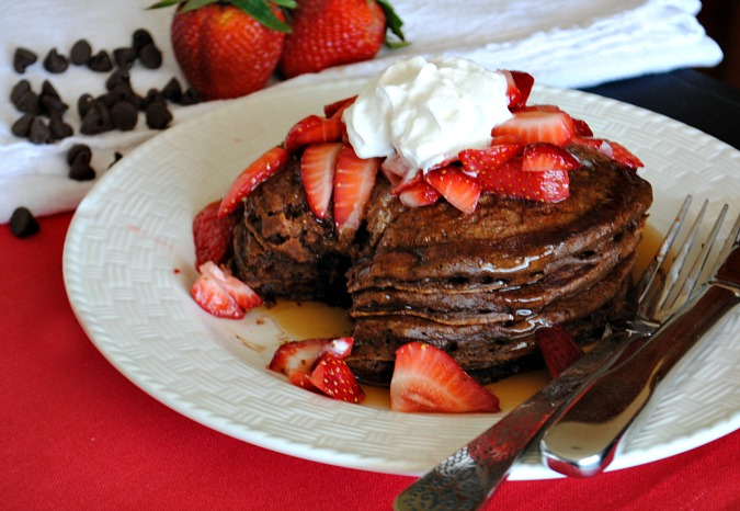 chocolate pancakes with strawberries and cream Suzanne @you-made-that.com