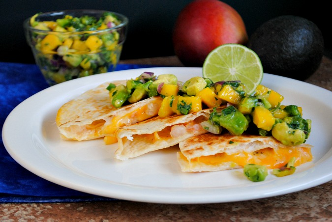 shrimp quesadilla with mango salsa |Suzanne @www.you-made-that.com