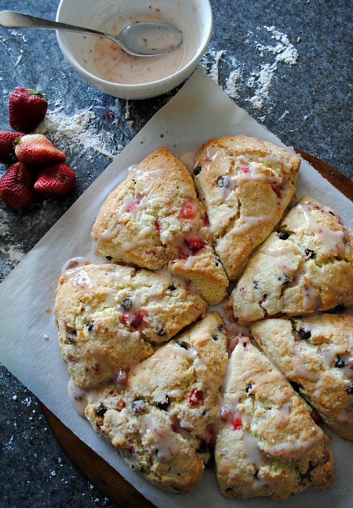 ... happier i made these sweet tender strawberry and chocolate chip scones