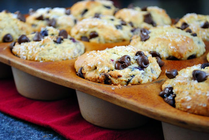 Chocolate chip cherry muffins |www.you-made-that.com