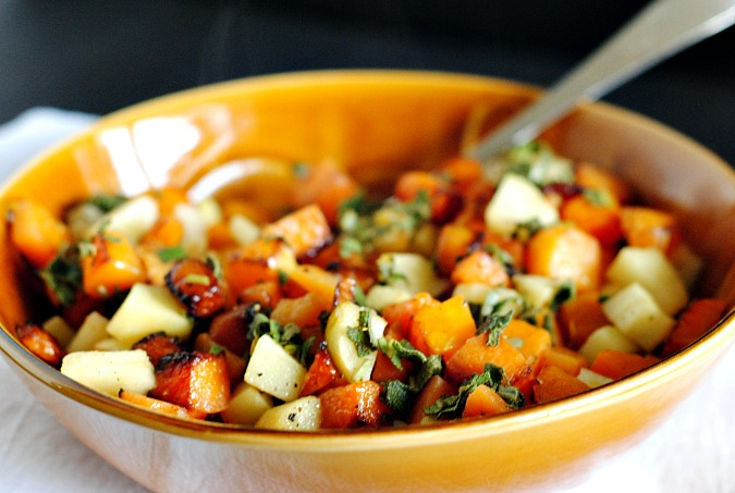 Roasted butternut squash, apples with fresh sage | you-made-that.com