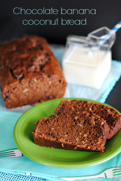 Chocolate Banana Coconut Bread | you-made-that.com