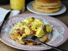 Thumbnail image for English Muffin Pancakes with ham & cheese scramble