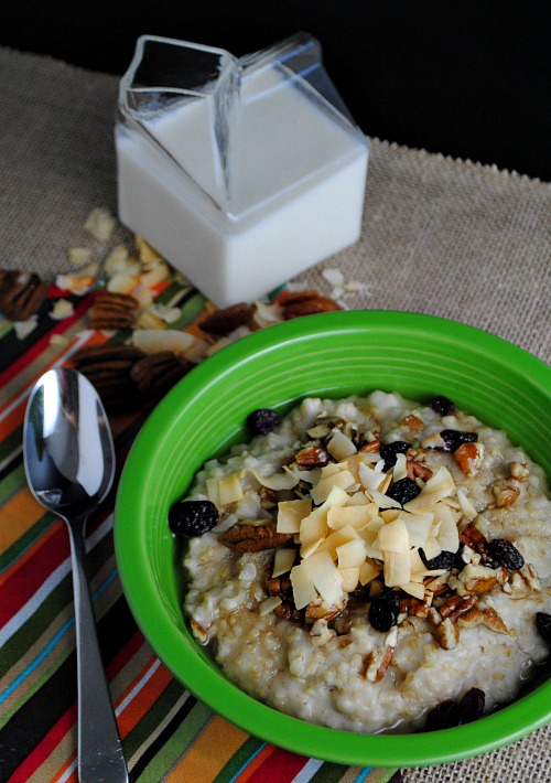 Healthy slow cooker steel cut oats | you-made-that.com