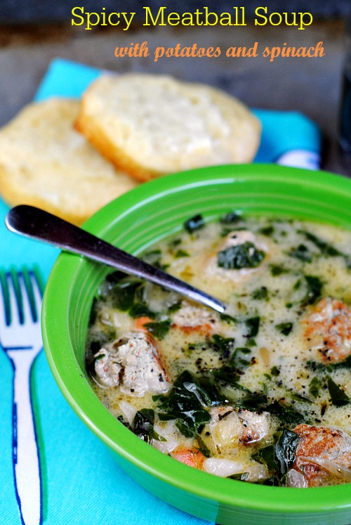 Spicy meatball soup with potatoes and spinach | you-made-that.com