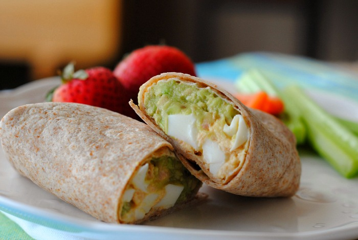 Tuna egg salad wrap with avocado